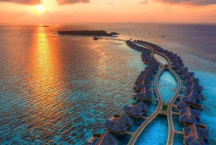 Joali Maldives Luxury Resort - Muravandhoo Island, Maldives - Resort Sunset Aerial
