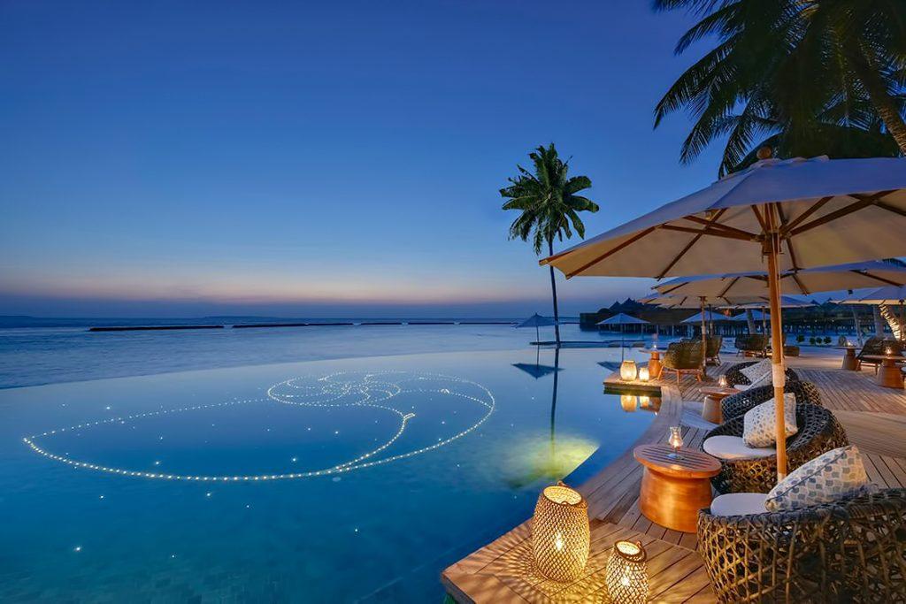 The Nautilus Maldives Luxury Resort - Thiladhoo Island, Maldives - Resort Infinity Pool Dusk