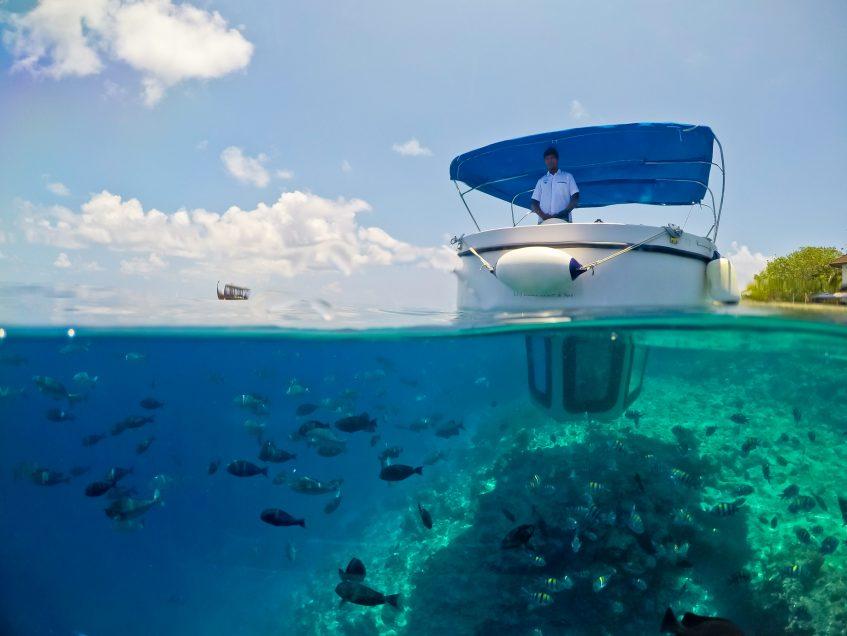 Amilla Fushi Luxury Resort and Residences - Baa Atoll, Maldives - Penguin Glass Bottom Boat Under Over Water View