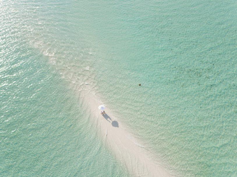 Soneva Jani Luxury Resort - Noonu Atoll, Medhufaru, Maldives - White Sandbank Beach Dining Aerial