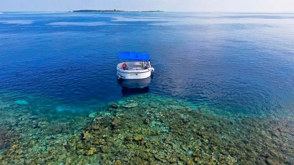 Amilla Fushi Luxury Resort and Residences - Baa Atoll, Maldives - Penguin Glass Bottom Boat Aerial View