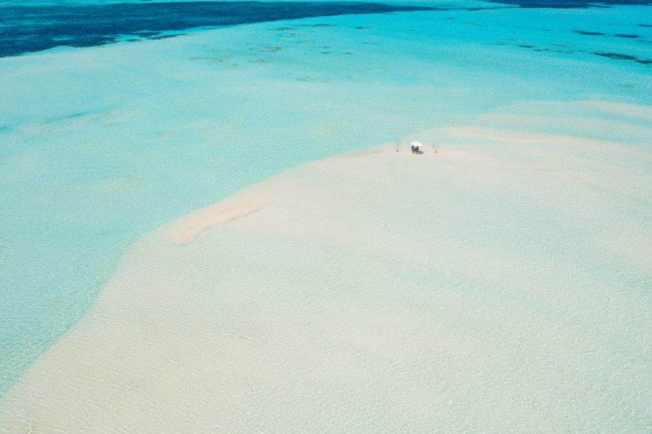Soneva Jani Luxury Resort - Noonu Atoll, Medhufaru, Maldives - Tropical Water Dining Table Aerial
