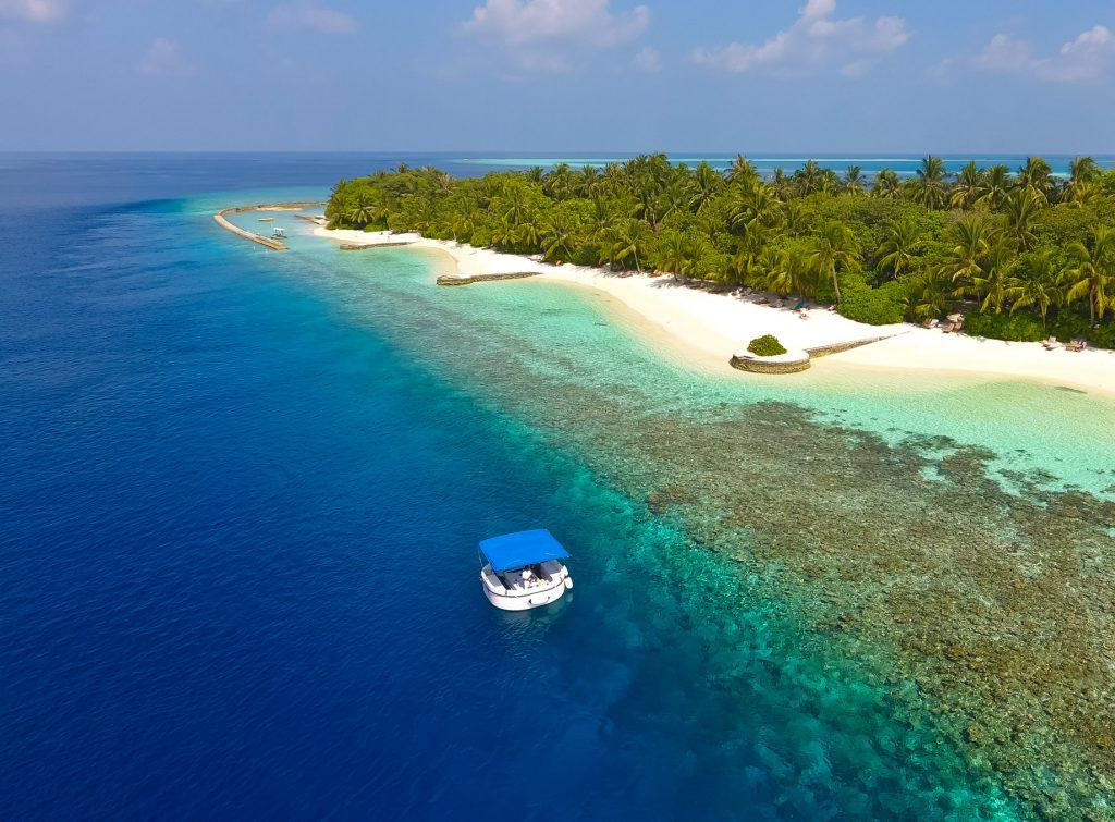 Amilla Fushi Luxury Resort and Residences - Baa Atoll, Maldives - Penguin Glass Bottom Boat Aerial