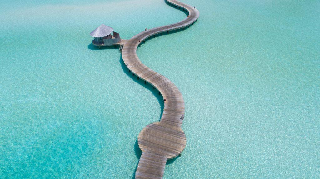 Soneva Jani Luxury Resort - Noonu Atoll, Medhufaru, Maldives - Tropical Ocean Water Jetty Boardwalk Aerial