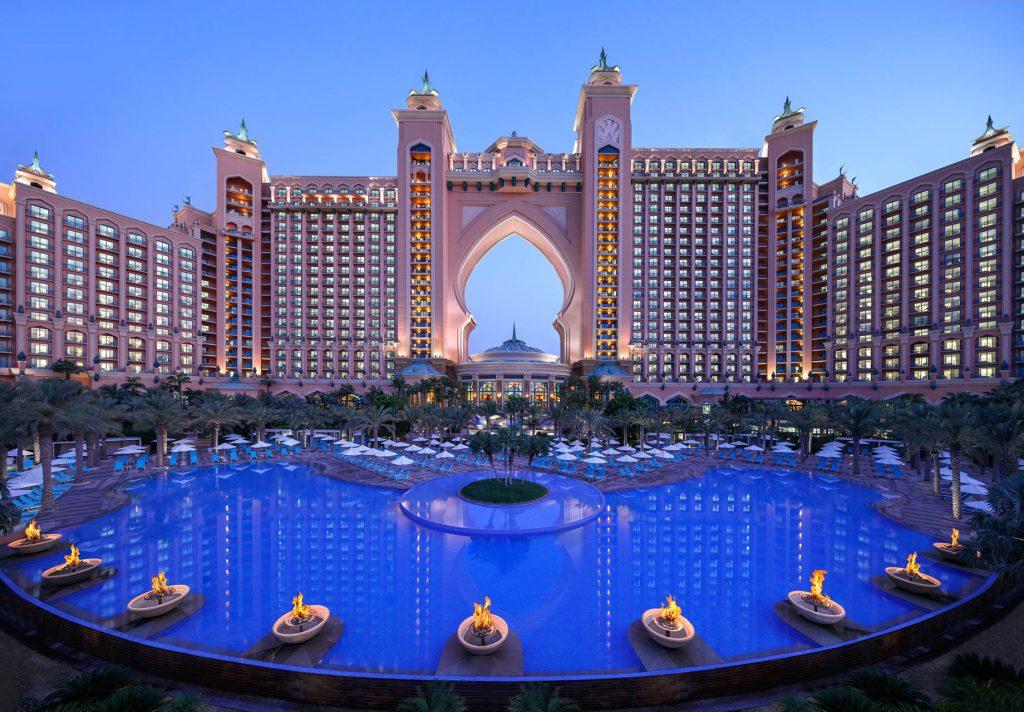 Atlantis The Palm Luxury Resort - Crescent Rd, Dubai, UAE - Resort Pool Twilight