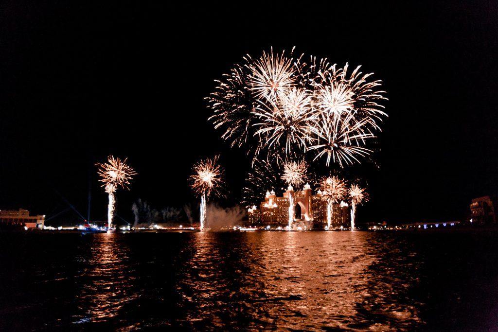 Atlantis The Palm Luxury Resort - Crescent Rd, Dubai, UAE - Night Fireworks