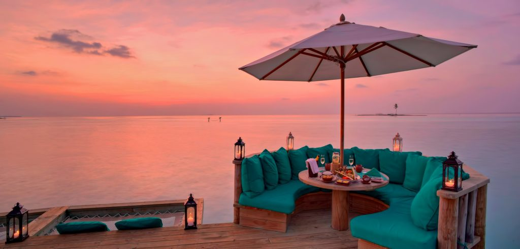 Gili Lankanfushi Luxury Resort - North Male Atoll, Maldives - Overwater Villa Deck Lounge Sunset