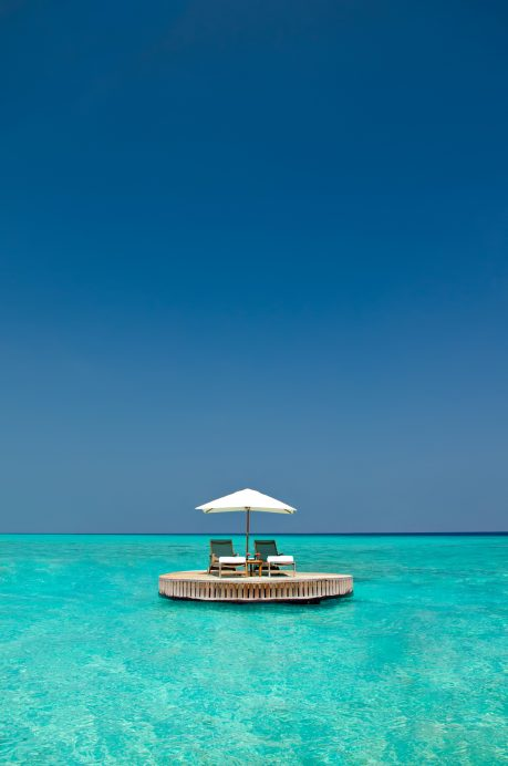 One&Only Reethi Rah Luxury Resort - North Male Atoll, Maldives - Ocean Water Lounge Chair Sun Umbrella