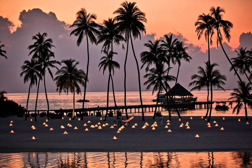 Gili Lankanfushi Luxury Resort - North Male Atoll, Maldives - Beach Lights Sunset