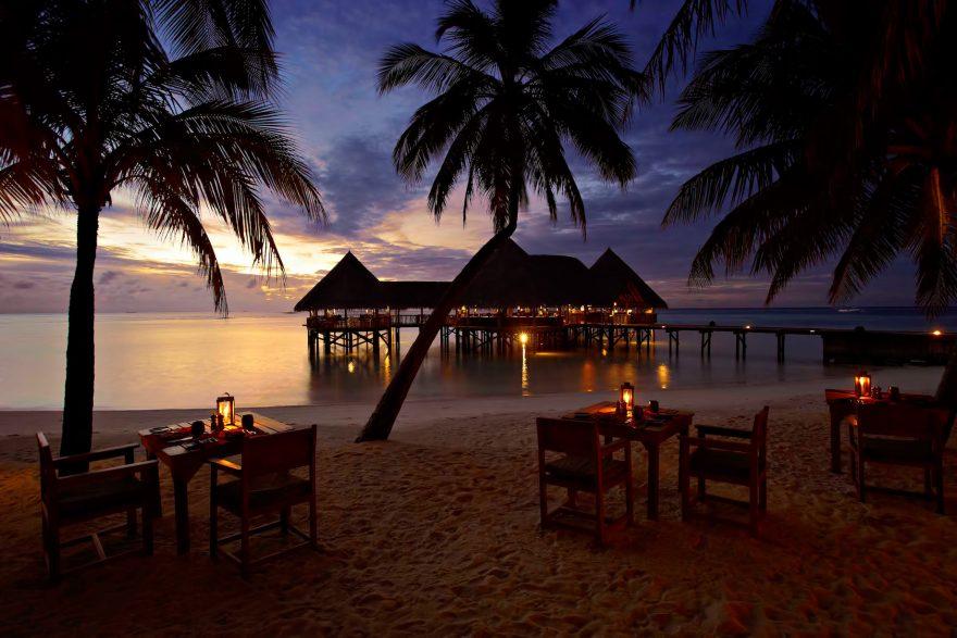 Gili Lankanfushi Luxury Resort - North Male Atoll, Maldives - Beach Dining Tables Sunset