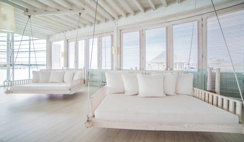 Soneva Jani Luxury Resort - Noonu Atoll, Medhufaru, Maldives - The Gathering Overwater Lounge Swing Chairs