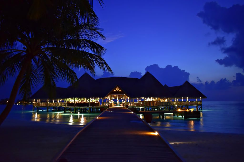 Gili Lankanfushi Luxury Resort - North Male Atoll, Maldives - Overwater Bar Night View