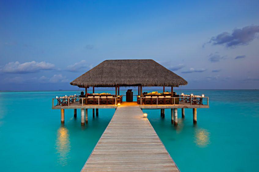 Velassaru Maldives Luxury Resort - South Male Atoll, Maldives - Overwater Restaurant Sunset