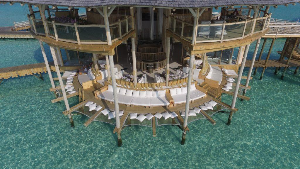 Soneva Jani Luxury Resort - Noonu Atoll, Medhufaru, Maldives - The Gathering Overwater Lounge Aerial