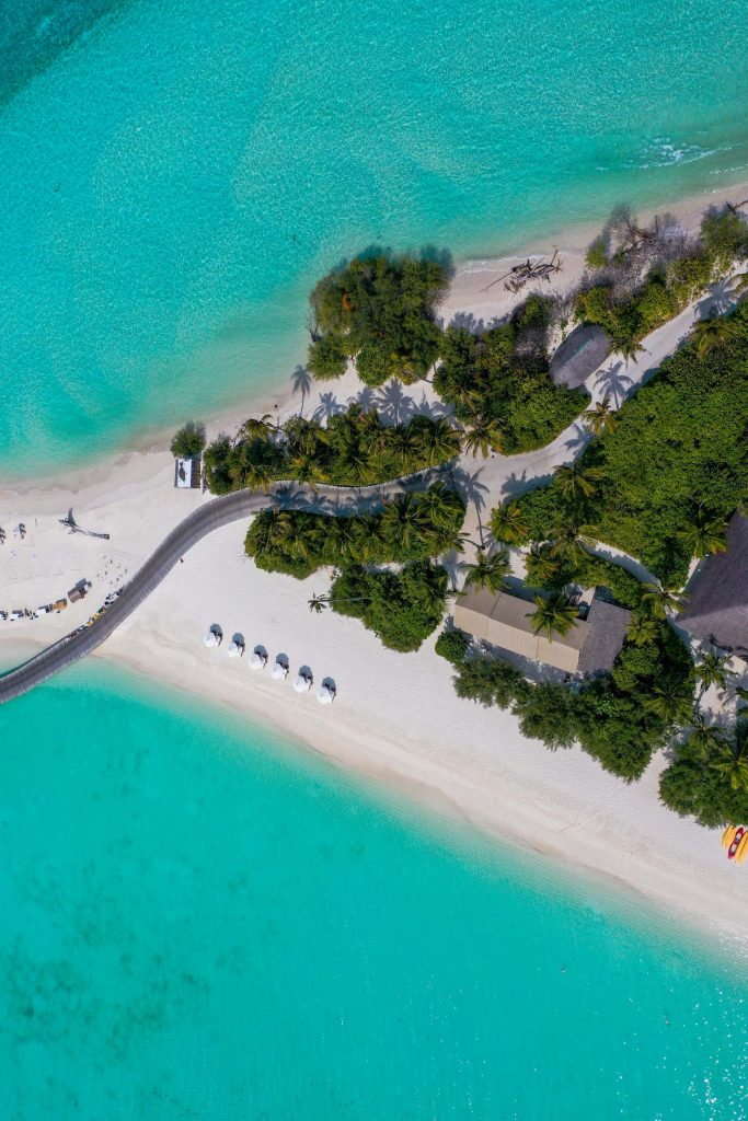 Soneva Jani Luxury Resort - Noonu Atoll, Medhufaru, Maldives - Jetty Beach Boardwalk Overhead Aerial