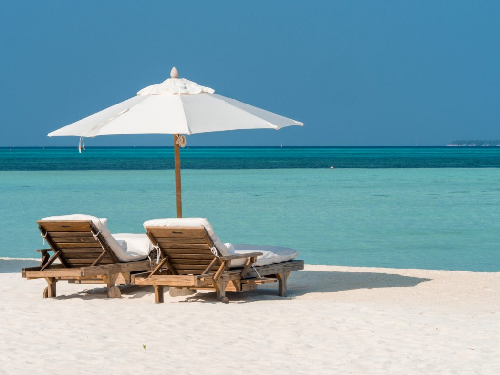 Soneva Jani Luxury Resort - Noonu Atoll, Medhufaru, Maldives - Private White Sand Beach Umbrella Chairs