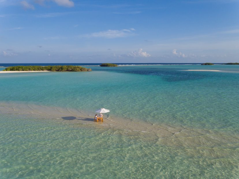 Soneva Jani Luxury Resort - Noonu Atoll, Medhufaru, Maldives - Table Dining in Water Aerial