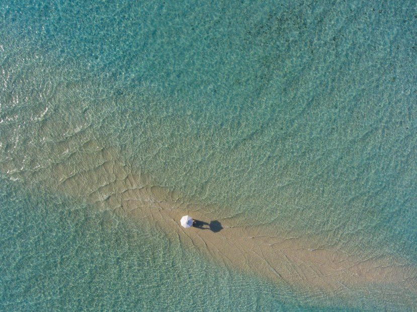 Soneva Jani Luxury Resort - Noonu Atoll, Medhufaru, Maldives - Table Dining in Water Overhead Aerial