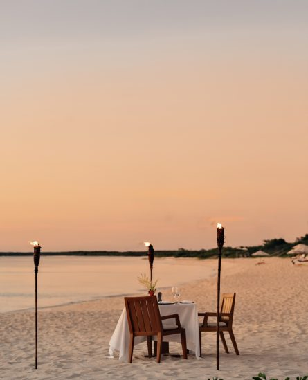 Amanyara Luxury Resort - Providenciales, Turks and Caicos Islands - Sunset Beach Dining Table