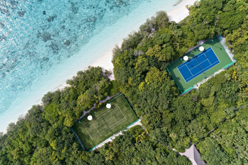 Cheval Blanc Randheli Luxury Resort - Noonu Atoll, Maldives - Private Island Tennis Courts Overhead Aerial