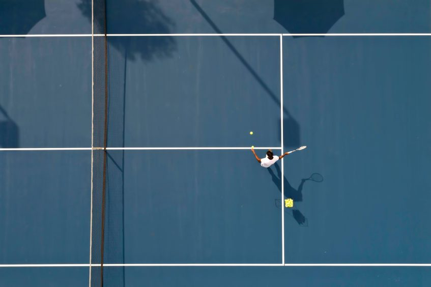 Cheval Blanc Randheli Luxury Resort - Noonu Atoll, Maldives - Tennis Court Overhead Aerial