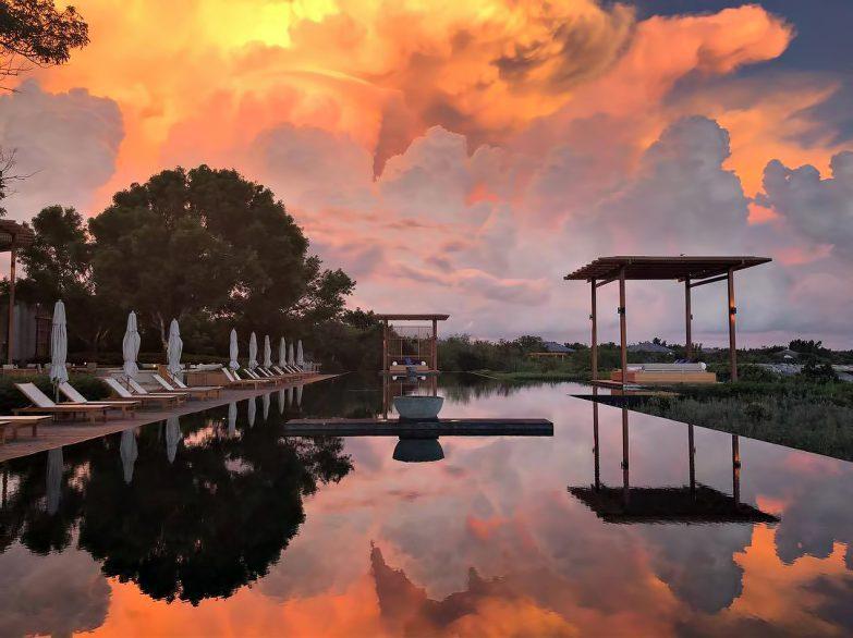 Amanyara Luxury Resort - Providenciales, Turks and Caicos Islands - Spectacular Sunset Pool Reflection