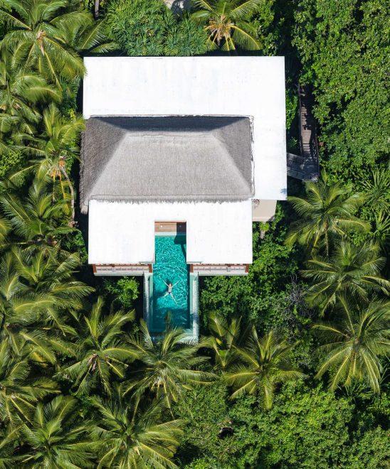 Amilla Fushi Luxury Resort and Residences - Baa Atoll, Maldives - Treetop Pool Villa Overhead Aerial