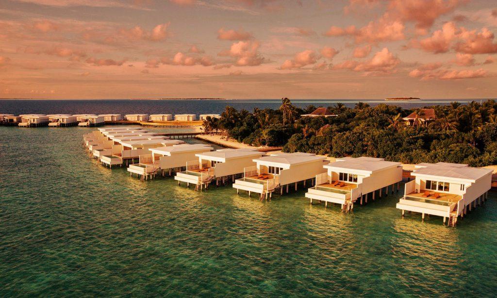 Amilla Fushi Luxury Resort and Residences - Baa Atoll, Maldives - Overwater Villas Sunset Aerial