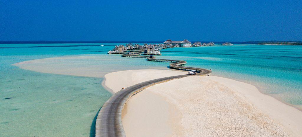 Soneva Jani Luxury Resort - Noonu Atoll, Medhufaru, Maldives - Tropical Private Island Overwater Jetty Boardwalk Aerial