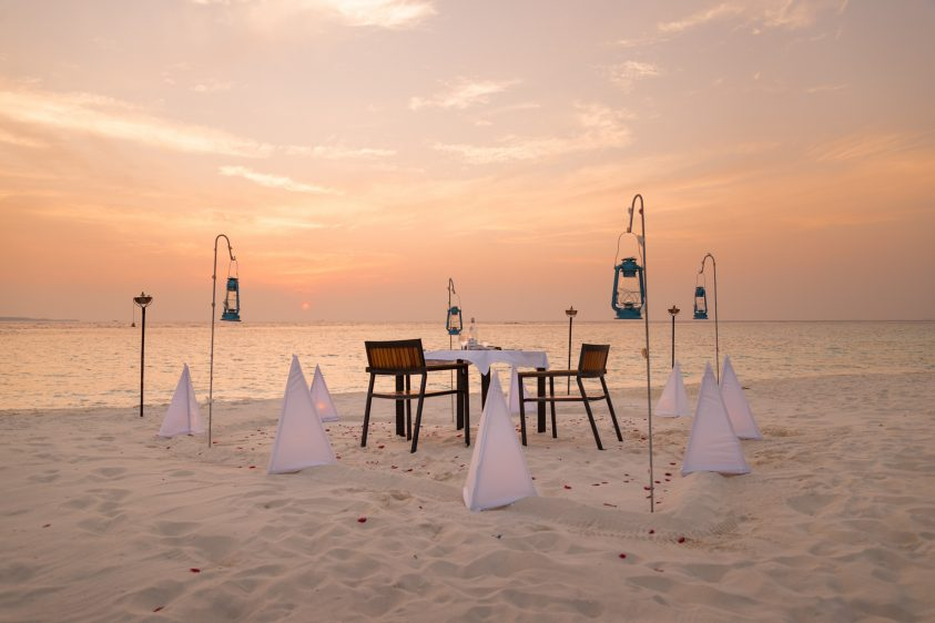 Amilla Fushi Luxury Resort and Residences - Baa Atoll, Maldives - Beach Table Dinner Sunset