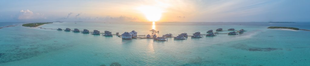 Soneva Jani Luxury Resort - Noonu Atoll, Medhufaru, Maldives - Aerial Panorama Sunset