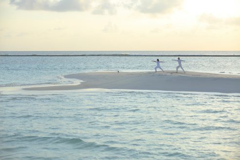 Soneva Jani Luxury Resort - Noonu Atoll, Medhufaru, Maldives - Beach Yoga Sunset