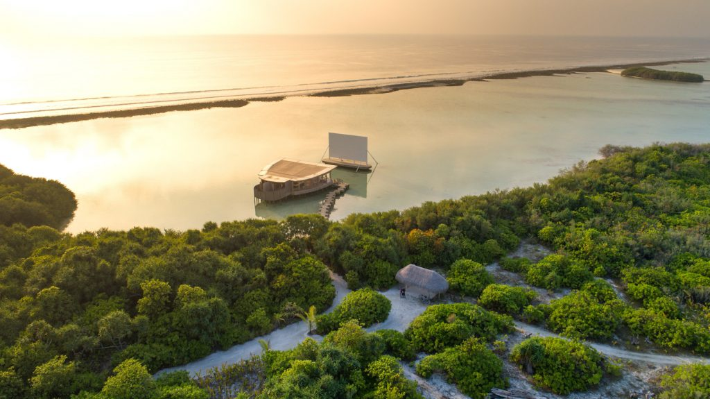 Soneva Jani Luxury Resort - Noonu Atoll, Medhufaru, Maldives - Overwater Movie Theatre Sunset