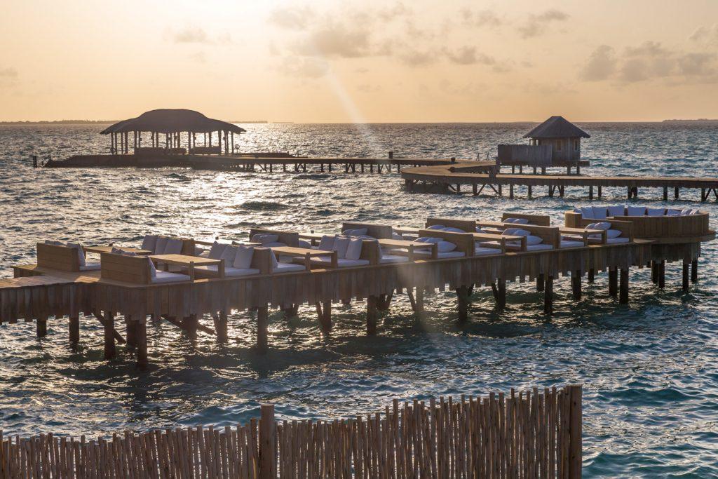 Soneva Jani Luxury Resort - Noonu Atoll, Medhufaru, Maldives - Overwater Bar Lounge Sunset