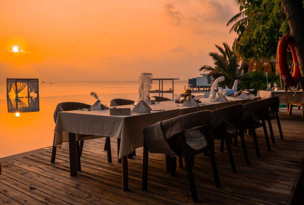 Amilla Fushi Luxury Resort and Residences - Baa Atoll, Maldives - Poolside Dining Sunset