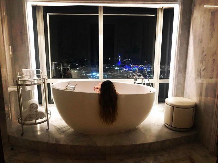 The St. Regis Abu Dhabi Luxury Hotel - Abu Dhabi, United Arab Emirates - Master Bath Frestanding Tub Night View