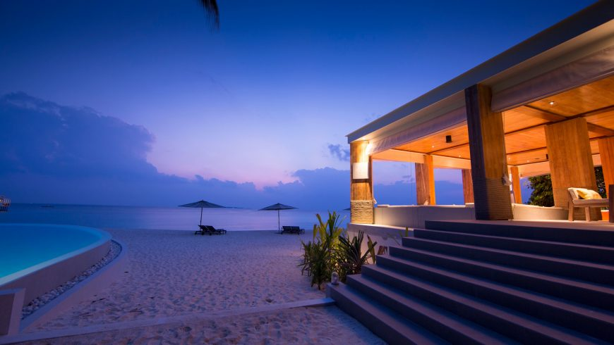 Amilla Fushi Luxury Resort and Residences - Baa Atoll, Maldives - Beachfront Baa Baa Bar Sunset