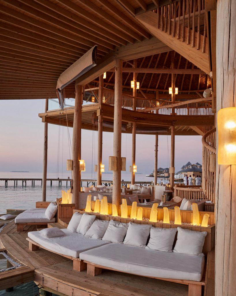 Soneva Jani Luxury Resort - Noonu Atoll, Medhufaru, Maldives - The Gathering Overwater Lounge Sunset