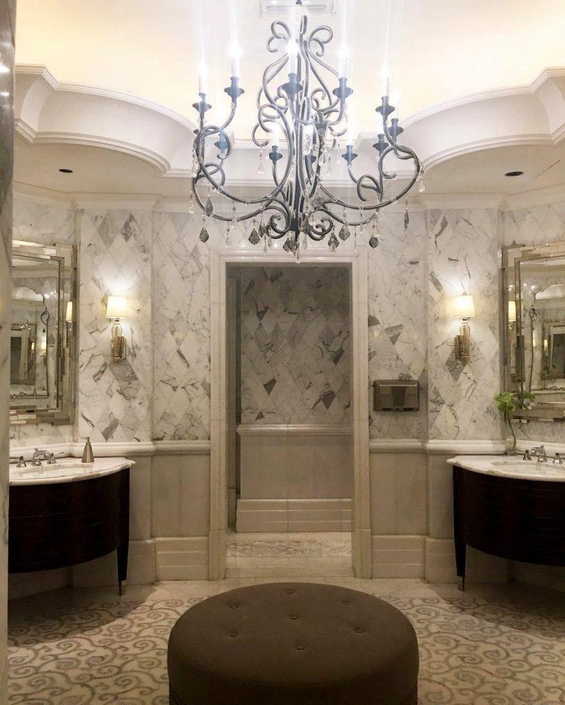 The St. Regis Abu Dhabi Luxury Hotel - Abu Dhabi, United Arab Emirates - Master Bath Night View