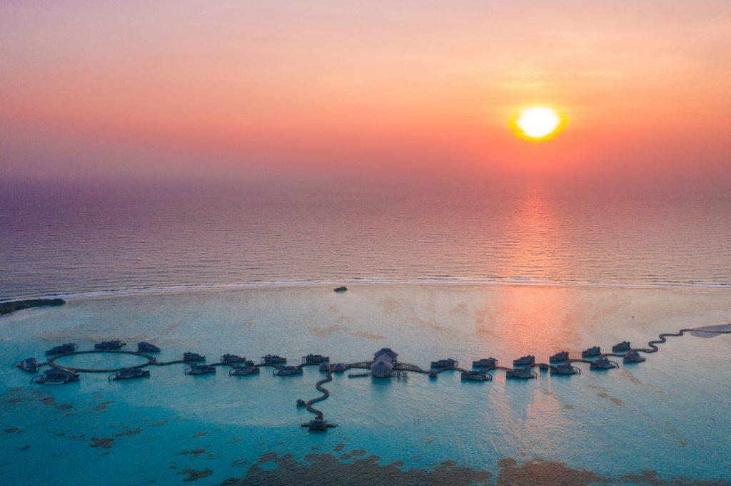 Soneva Jani Luxury Resort - Noonu Atoll, Medhufaru, Maldives - Resort Oceanview Sunset Aerial