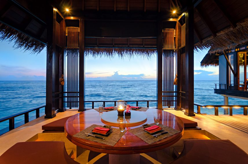 One&Only Reethi Rah Luxury Resort - North Male Atoll, Maldives - Tapasake Restaurant Overwater Pavilion Table
