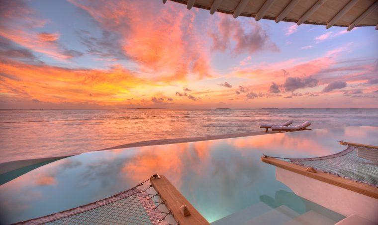 Soneva Jani Luxury Resort - Noonu Atoll, Medhufaru, Maldives - Overwater Villa Infinity Pool Sunset Oceanview