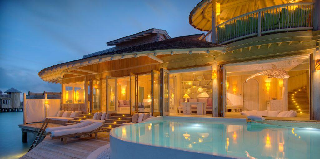 Soneva Jani Luxury Resort - Noonu Atoll, Medhufaru, Maldives - Overwater Villa Pool Deck Dusk