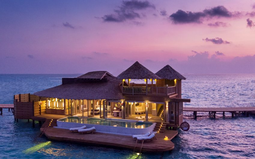 Soneva Jani Luxury Resort - Noonu Atoll, Medhufaru, Maldives - Overwater Villa with Pool Dusk Oceanview
