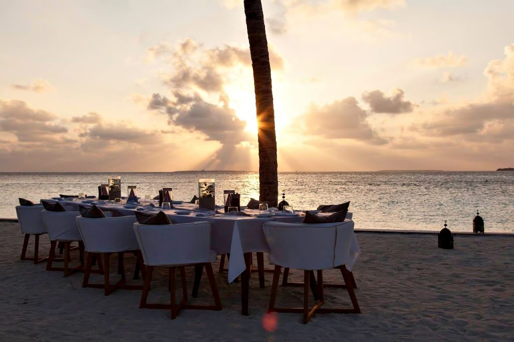 Cheval Blanc Randheli Luxury Resort - Noonu Atoll, Maldives - Beach Dining Sunset