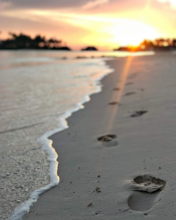 Cheval Blanc Randheli Luxury Resort - Noonu Atoll, Maldives - Beach Footprints Sunset