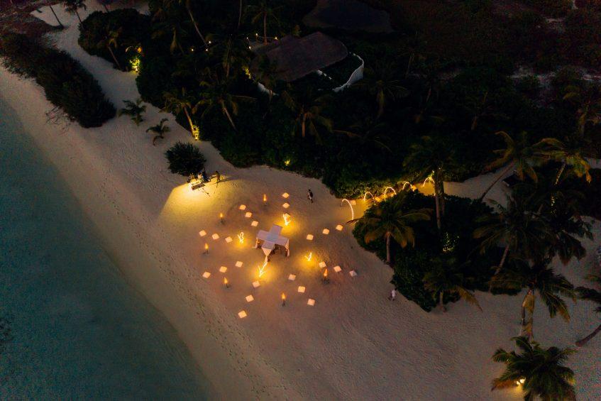 Soneva Jani Luxury Resort - Noonu Atoll, Medhufaru, Maldives - Private Island Beach Dinner Sunset Aerial