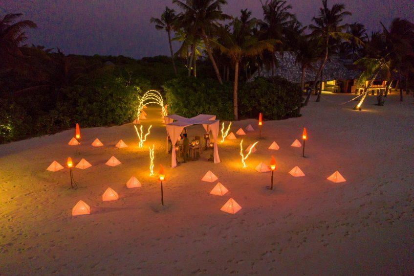 Soneva Jani Luxury Resort - Noonu Atoll, Medhufaru, Maldives - Private Island Beach Dining Sunset