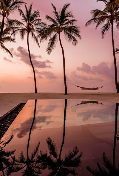 One&Only Reethi Rah Luxury Resort - North Male Atoll, Maldives - Beach Pool Hammock Sunset