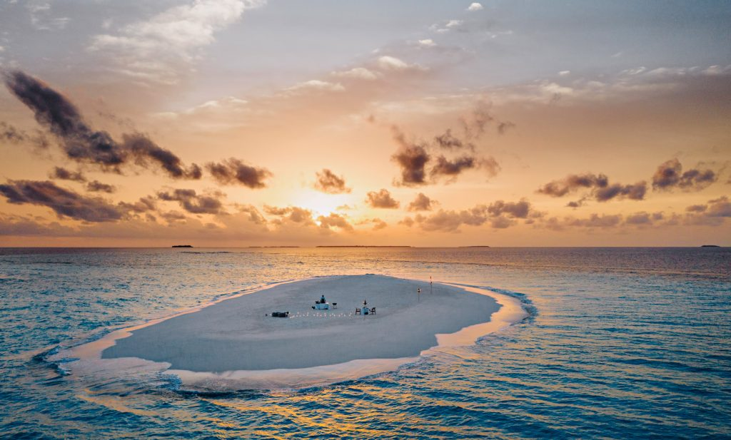 One&Only Reethi Rah Luxury Resort - North Male Atoll, Maldives - Beach Sandbank Dinner Twilight